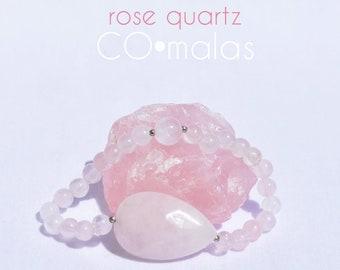 Rose Quartz Mala Bracelet with Pear Shaped-Faceted Rose Quartz Cabochon