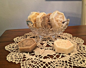 Little glass soap dish and soaps