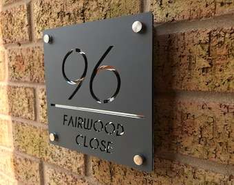 Contemporary Square House Sign Door Number Acrylic Door Sign Bespoke Modern House Sign Modern house plaque House number Address Plaque