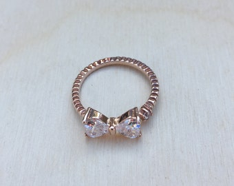 Cute Small Crystal Bow Rings, Adjustable Ring, Bow Jewelry, 18K Rose Gold Plated Ring, 18K White Gold Plated Ring, Bow Ring
