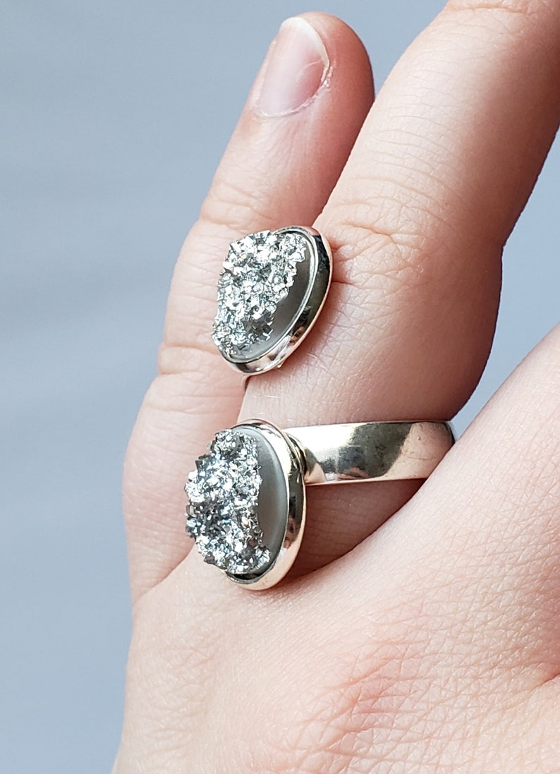 Silver Statement Ring Light Blue Shimmer Ring Silver Twisted Ring Blue Statement Ring