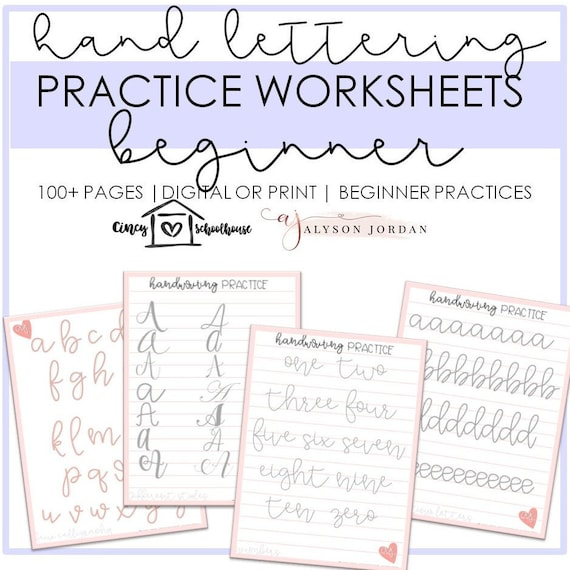 picture about Printable Hand Lettering Practice Sheets titled Handlettering Prepare Sheets- Rookie Hand Lettering Train Worksheets Electronic and Printable Find out Calligraphy