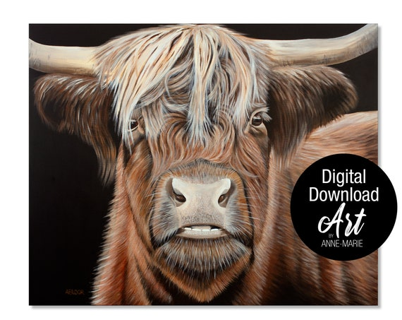 HIGHLAND COW BLACK AND WHITE YELLOW MUSTARD CANVAS WALL ART PRINT ARTWORK