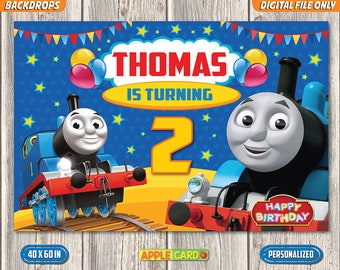 Thomas Birthday Backdrop And Friends Banner Train Booth Invitation Digital