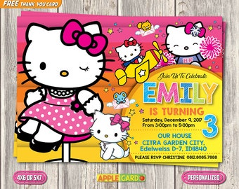 Hello Kitty Invitation Etsy