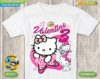 Hello Kitty T Shirt Iron On Transfer Birthday Clothes Digital File Girl