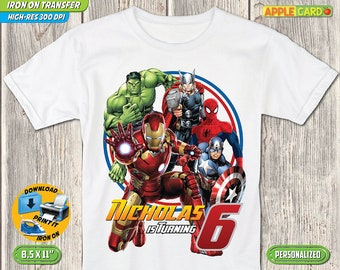 Avengers T ShirtAvengers Iron On Transfer Birthday Clothes Digital Super Hero Shirt