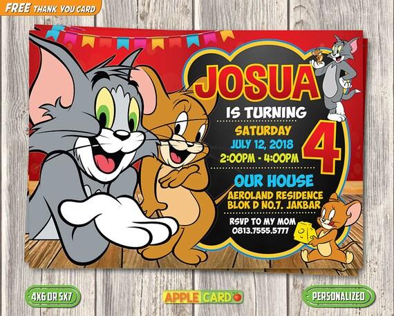 Tom And Jerry Invitation Birthday Thank You Card Digital Printable