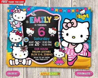 Hello Kitty Birthday Invitation, Hello Kitty Digital Invitation, Baby Girl Invitation, FREE Hello Kitty Thank You Card, Girl Birthday