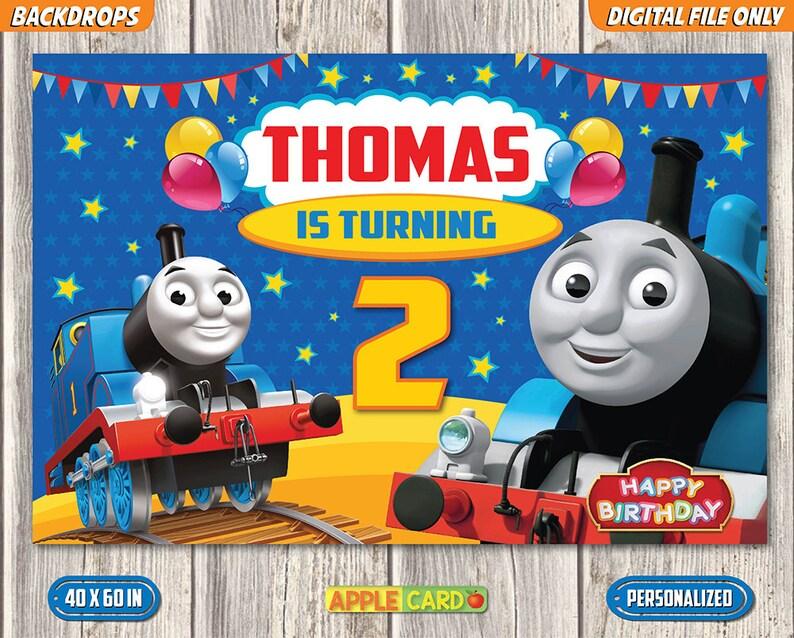 Thomas Birthday Backdrop Thomas And Friends Backdrop Thomas Etsy