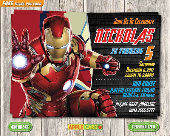 Iron Man Birthday Invitation Super Heroes