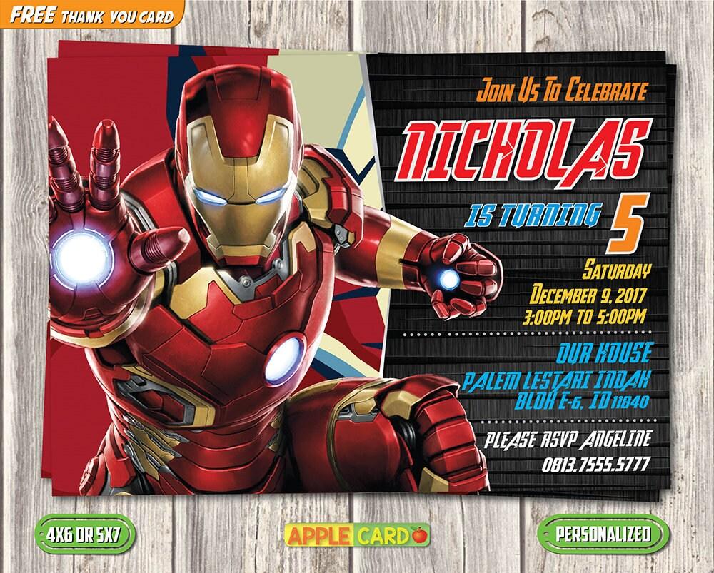 Iron Man Birthday Invitation Super Heroes