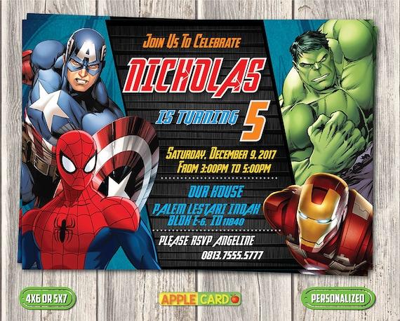 Invitación De Cumpleaños De Los Vengadores Tarjeta De Invitación De Los Vengadores Invitación De Cumpleaños De Los Superhéroes