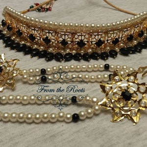 maang tikka and grand passa with beautiful AD stones. Bollywood style AD stone silver setSilver choker set with matching earrings