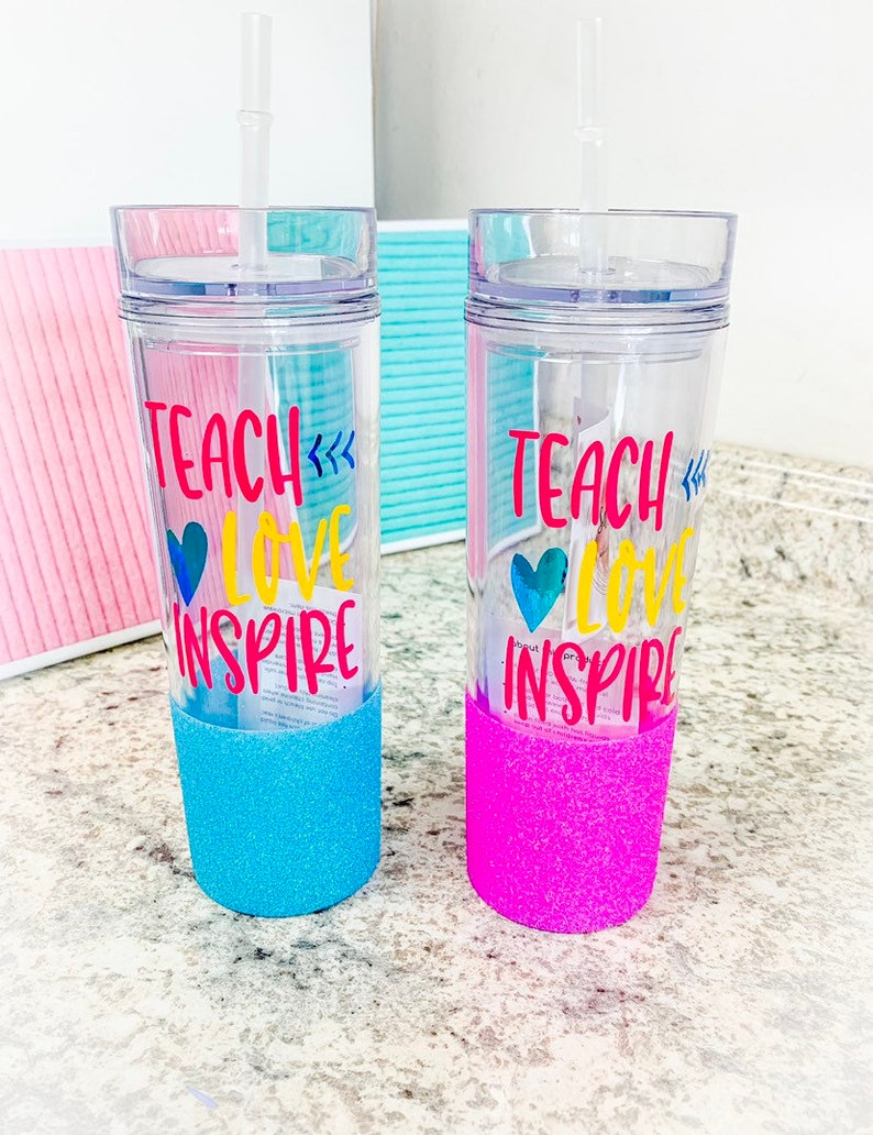f7b2cdf39b0 Teach Love Inspire Tumbler/ Glitter dipped tumbler/ Teacher Glitter  tumbler/ Skinny tumbler/ Gift for teacher/ teachers appreciation gift