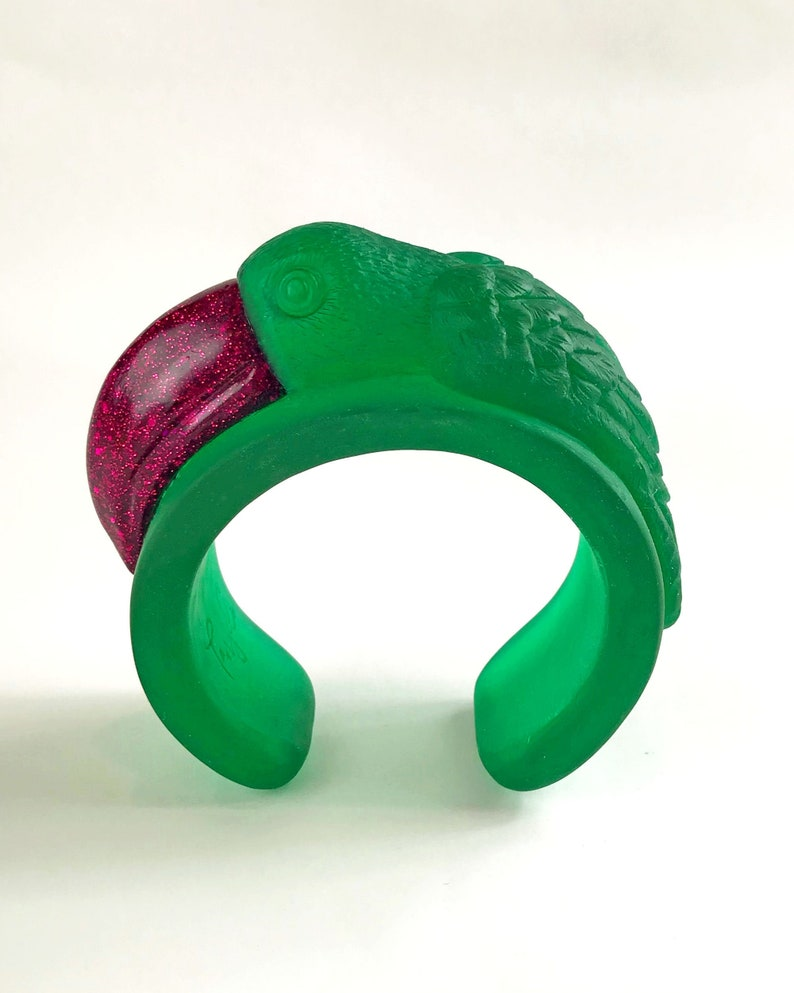 Handmade Bracelet TOUCAN Eco Resin Bangle Cuff in Green and Fuchsia Pink Wearable Art Gifts For Her Unique Jewellery