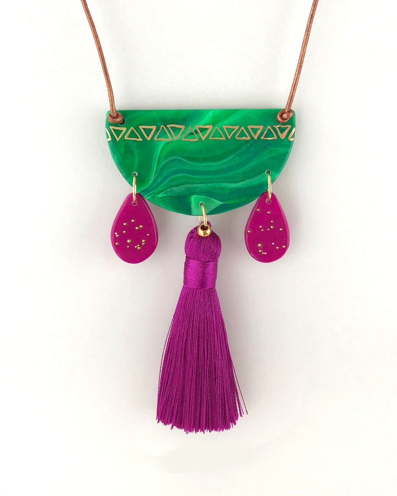 Gifts for Her AZTEC SPIRIT Tassel Pendant Necklace Pink and Green Polymer Clay Necklace Handmade Statement Necklace