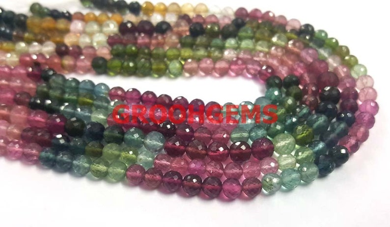 Tourmaline Stone Necklce AAA Super Finest Quality Multi Tourmaline Faceted Round Balls Shape Beads 5mm 14strand