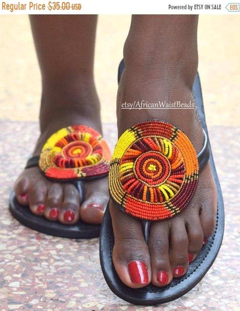 48f361ab1 ON SALE AFRICA Sandal Tribal Sandal Zulu Sandal Woman Bead | Etsy
