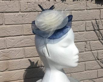 Cappello Persona Navy Blue & Cream Headpiece - Beautiful Bespoke Fascinator