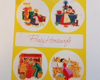 "Vintage Greeting Cards, Vintage Stationary, ""The Busy Housewife"""