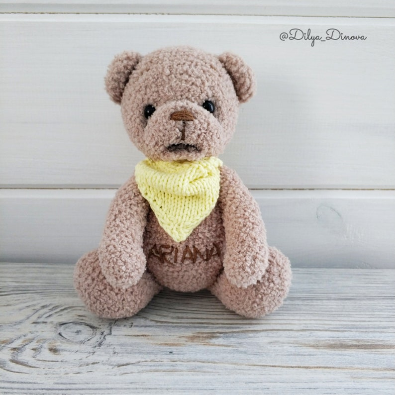 Personalized crochet Teddy bear Stuffed animal bear Personalozed crochet baby gift Personalized toy with baby name softie bear cute bear