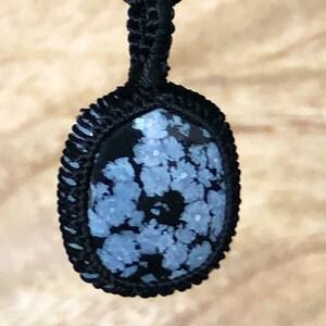 Snowflake obsidian macrame pendant snowflake obsidian pendant