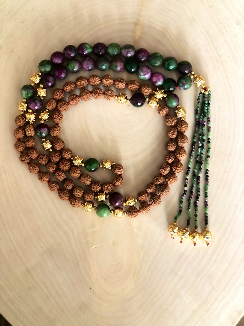 tassel necklace beaded necklace Rudraksha necklace for women japa mala necklace 108 mala necklace for men ruby fuschite mala necklace