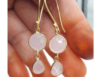 Rose Quartz Earring,Handmade Silver,Birthstone,Bridesmaid,Gift 4 her,Two stone earring,pink jewelry,18k gold jewelry,gemstone trendy moving
