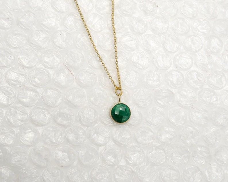 Dainty Golden Emerald necklace,Green color /& precious necklace,birthday gift May Birthstone necklace,925 silver necklace,Gift for her,Trendy