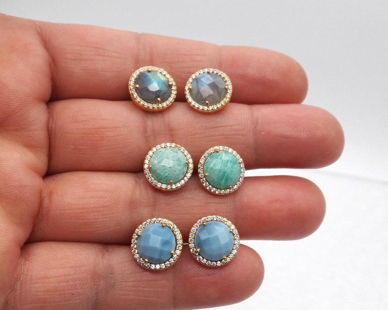 Blue Opal Earring Stud,Cubic Zirconia Stud,Handcrafted Earring,18 k gold plated,bezel Set,Moving trendy,Gift,Jewelry Treasure,Gemstone studs