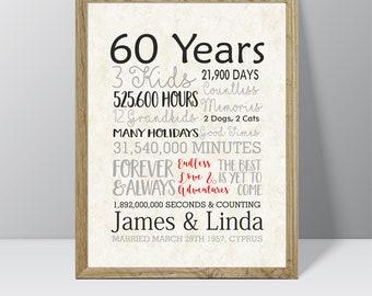 60th Anniversary Gift, 60 Years Married or Any Year, Gift for Grandma and Grandpa, Grandparents Anniversary, Parents, Diamond Gray