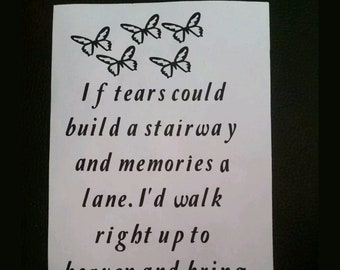 """Wine Bottle/Vase/Lantern Vinyl Decal Transfer Sticker """"if tears could build a stairway"""" in memory of, a loved one"""