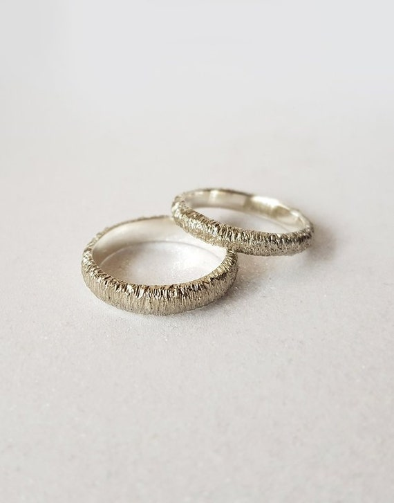 Unique wedding rings set for couple, Matching wedding bands, Solid 8k  white gold wedding bands for him and for her, Textured wedding bands