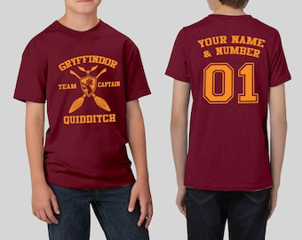 2d020f09 Custom Gryffindor Quidditch Youth Shirt - Harry Potter Shirt Youth Unisex