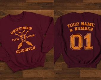 Custom Gryffindor Quidditch Sweatshirt - Harry Potter Sweatshirt //Unisex
