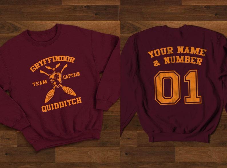 e0231f5e3 Custom Gryffindor Quidditch Sweatshirt Harry Potter | Etsy