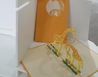 Giraffes 3D popup greeting cards