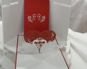 Love Swans 3D popup greeting cards