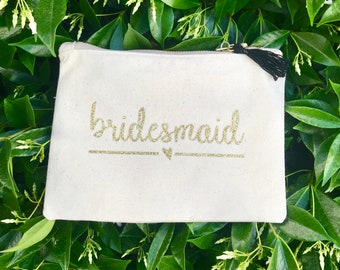 Custom Made - Bridesmaid Zipper Pouch - Personalized Cosmetic Bag - Bachelorette Makeup Bag - Bridesmaid gift