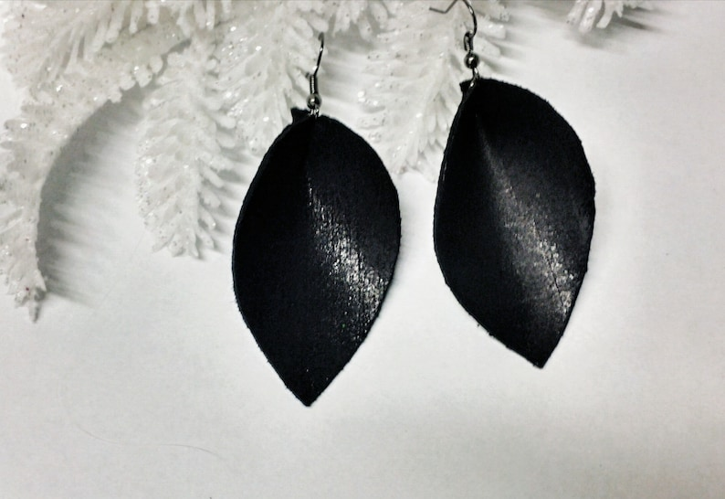 Best birthday gift for new girlfriend Black leather earrings for wife unique gifts for sister in law birthday gift for women boho mother/'s