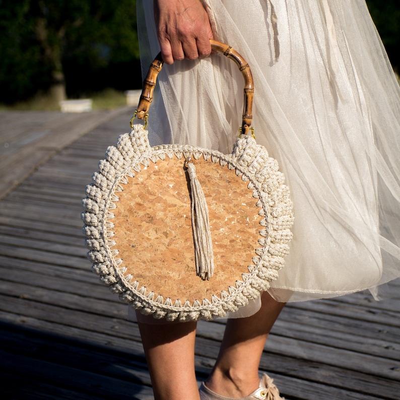 Crochet tote bag  cork handbag   crochet shoulder bag  gift Off white gold