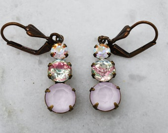 Pink Swarovski Trio Dangle leverback Earrings