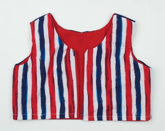 Patriotic RTS Reversible Toddler Pullover Crop Vest :boho, red white and blue, fourth of july, festival