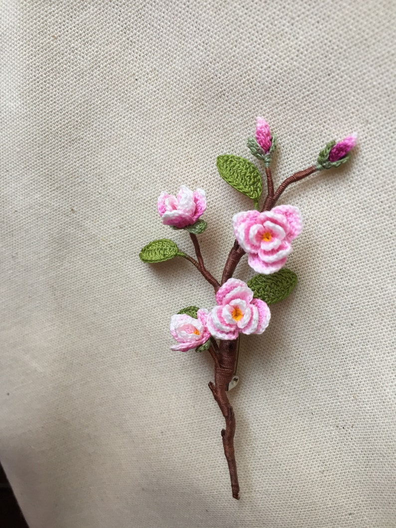 Thank you gift Handmade brooch Wedding flower boutonniere Meaning gift. Crochet Magnolia Brooch Mother\u2019s Day gift