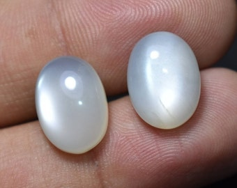 Natural WHITE SCOLESITE CushionFancy Pair Cabochon Loose Semiprecious Gemstone For Earrings