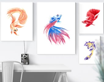 Set 4 Fish Watercolor Download Fish watercolor Fish print Fish poster Fish art Animals watercolor Nature Watercolor art Watercolor print
