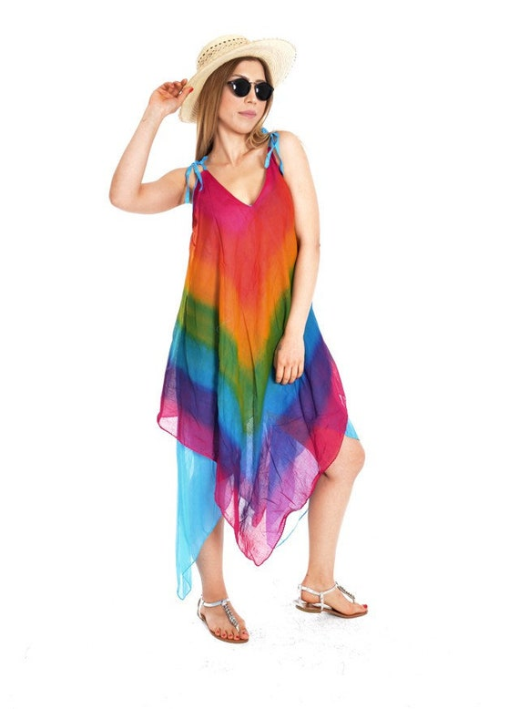 Rainbow dress, Cotton maxi dress, Summer dresses for women, Plus size  dress, Rainbow tunic