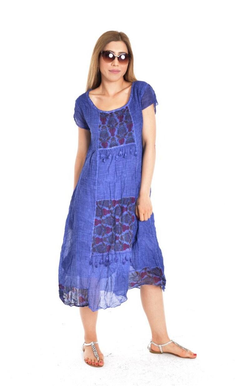 Tunic dress tunic Long dress Dress gift Blue dress Cool dress Cotton dress Blue clothing Gift for her Casual dress Cute dress