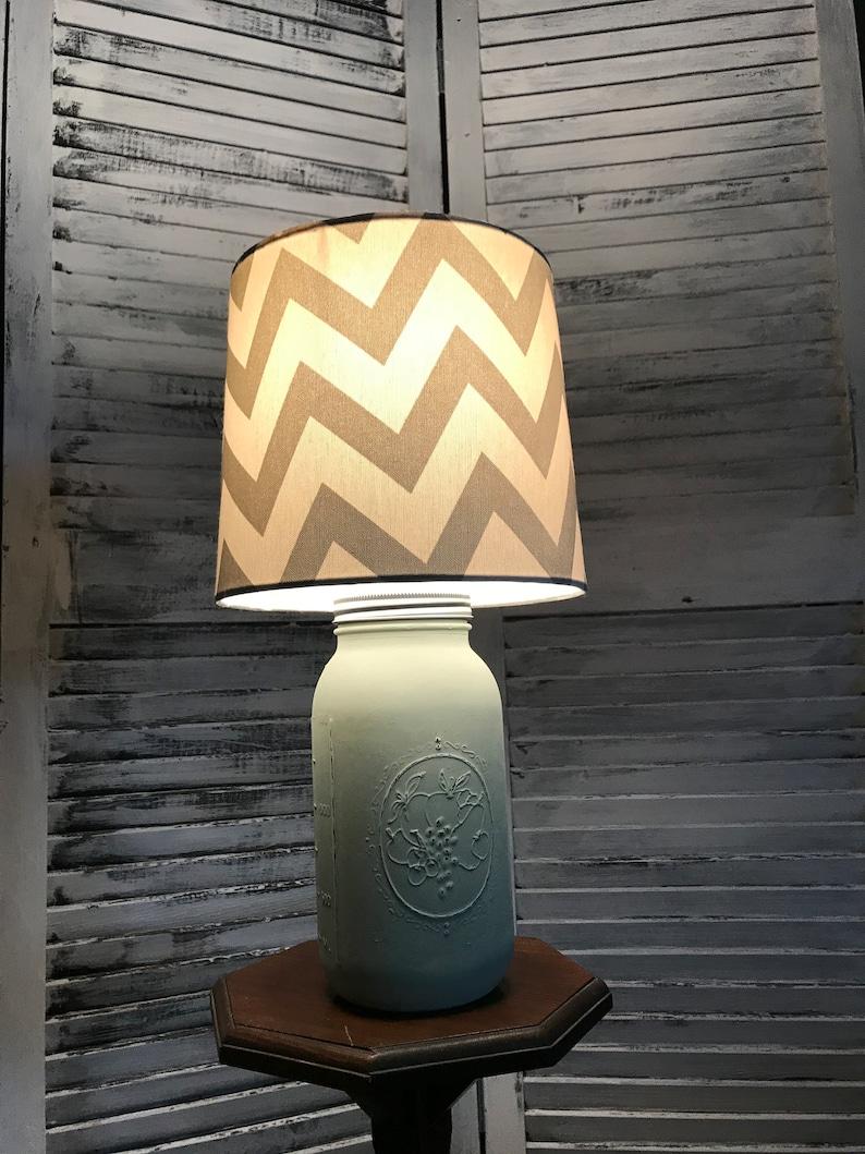 Accent Lamp Desk Lamp Green Chevron Mason Jar Lamp Hand Painted Lamp Distressed Lamp Gift Country Home Decor Rustic Mason Jar Lighti
